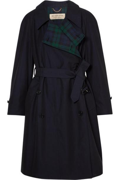Burberry coat trench coat navy cotton