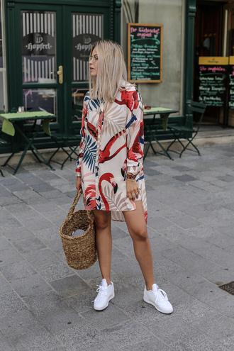 dress tumblr asymmetrical printed dress mini dress shirt dress long sleeves long sleeve dress bag woven bag sneakers white sneakers shoes