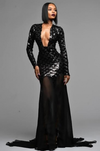 dress arlene sutherland gown dresses evening red carpet dress grammys 2015 heels platform shoes all black everything hollywood ball gown dress black dress plunge v neck evening dress