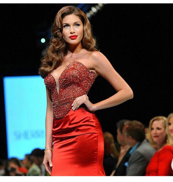 sequins red dress red lips tshirts sequins dress sherri hill sheri hill