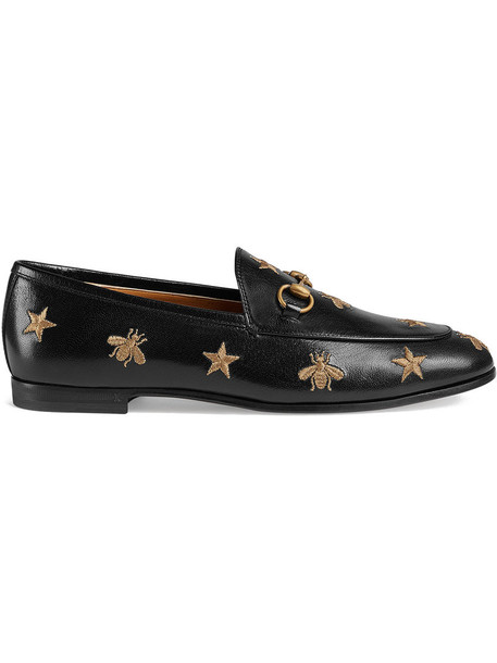 embroidered women loafers leather black shoes