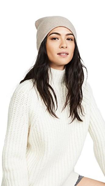 White + Warren beanie white hat