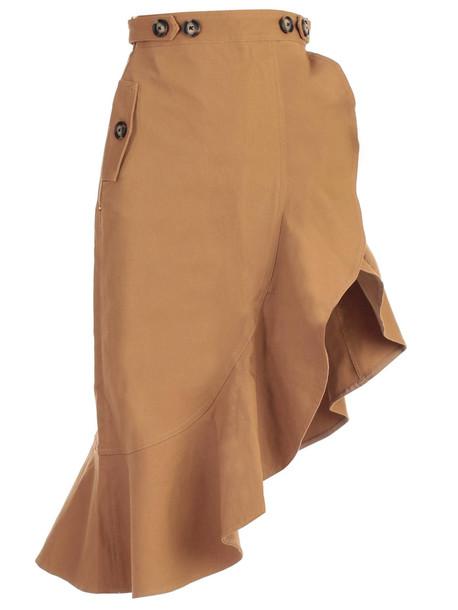 self-portrait Skirt Canmel Flounced Canvas in camel