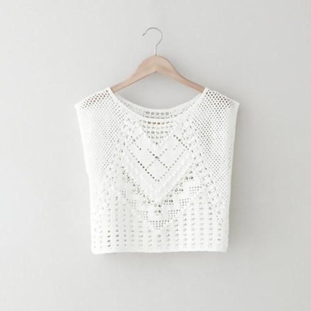Blouse Clothes Shirt White Crochet Pretty Cute Tropical Tank