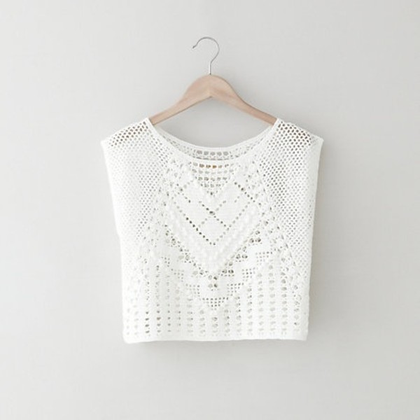 blouse clothes shirt white crochet pretty cute tropical tank top boho crop tops knitted top