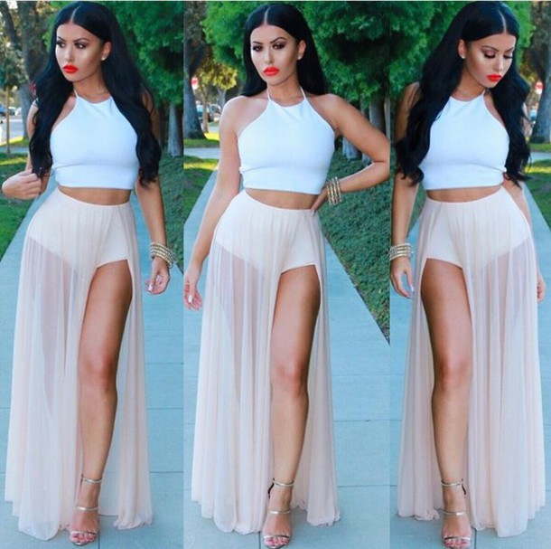 941f44fa skirt, pink, mesh, maxi, long, see through, top, crop tops, white ...
