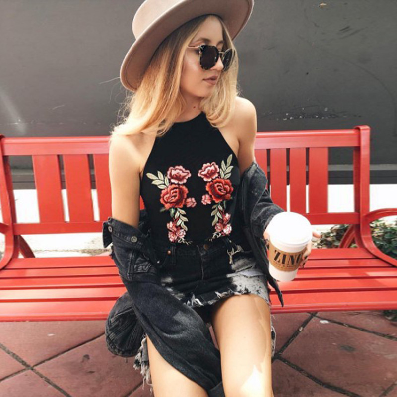 Embroidery Flower Women Summer Fitness 2017 Black Short Tank Crop Tops [Ailsa 270] - $15.00 : Unique Designer Women's Clothing & Dresses Shop Online Now For Affordable Styles - Ailsaclothing.com