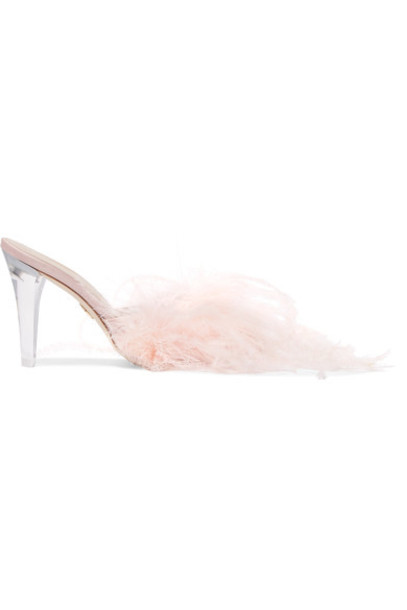 Brother Vellies embellished mules pink satin shoes