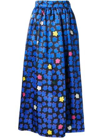 skirt women jacquard blue silk