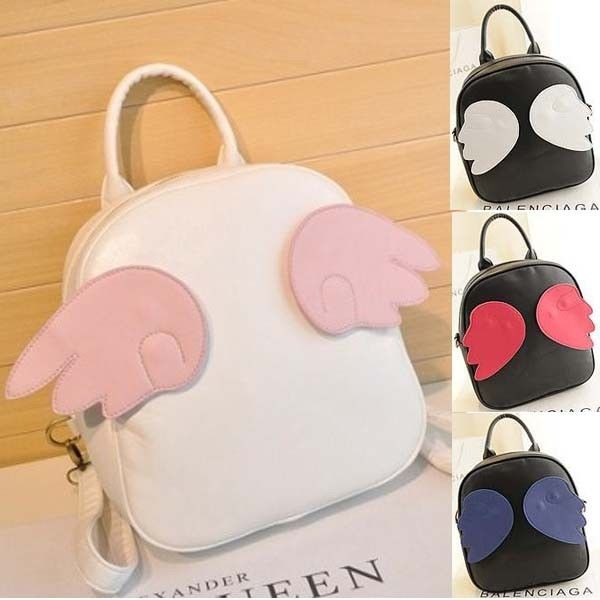 Street fashion harajuku style angel wing backpack totes satchel handbag bags pu