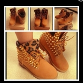 shoes,leopard timberlands,spiked shoes,timberland heels
