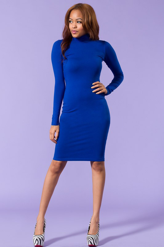 Sleeve Body Con Blue Dress - Women's Clothing