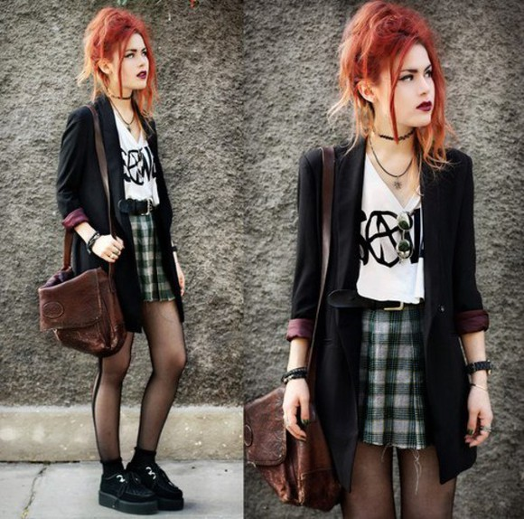 skirt mini skirt tartan skirt tartan jacket indie grunge creepers t-shirt lua p hipster rocker retro choker necklace blazer coat vintage cardigan satchel luanna perez bag