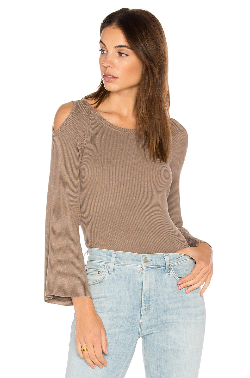 525 america Cut Out Shoulder Sweater in taupe