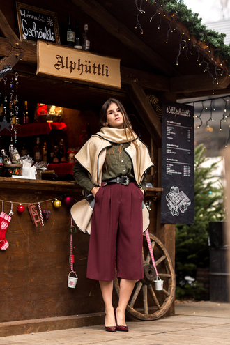 the fashion fraction blogger shirt belt culottes winter outfits burgundy