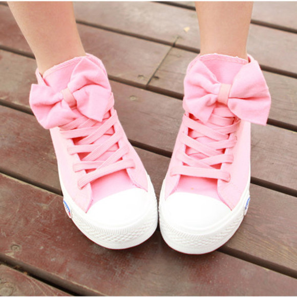 shoes pink shoes shoes with bows bows pink, cute , kawaii, japanese, shoes, bow, sneakers