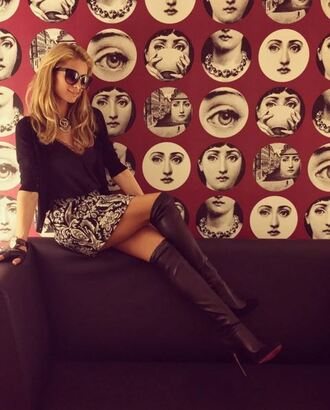skirt boots knee high boots over the knee boots paris hilton instagram mini skirt