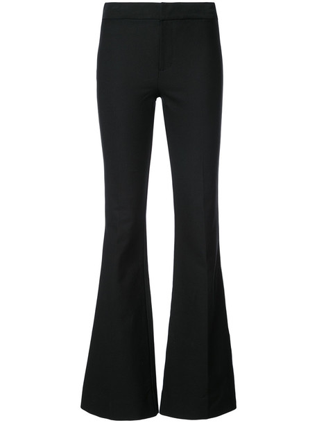 flare women cotton black pants