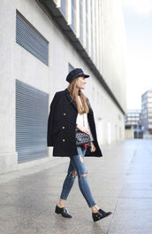 b a r t a b a c,blogger,fisherman cap,pea coat,coat,sweater,shirt,jeans,shoes,hat,bag