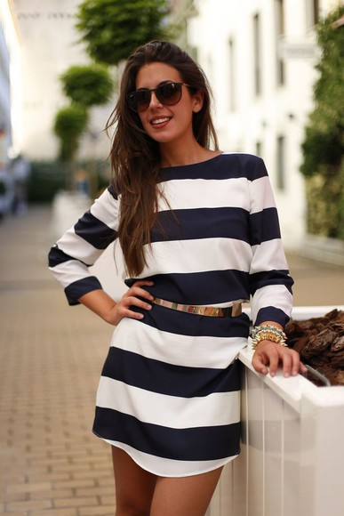 horizontal stripes striped dress navy dress gold belt layer back short dress white dress long sleeves t-shirt dress short dress spring dress blue white white and blue dress