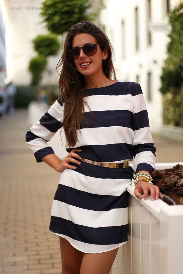 Dress Striped Dress White