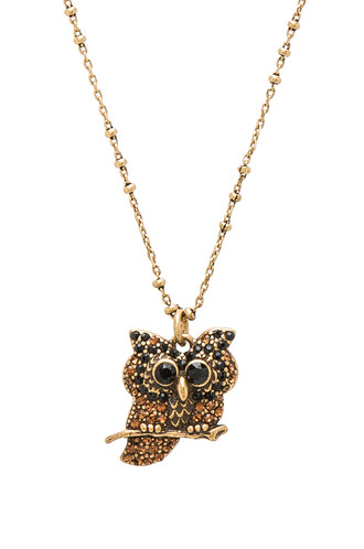 owl necklace pendant metallic gold jewels