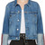 Frame Denim Blue Denim le Jacket Reverse Overlock Cuff Jacket