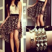 dress,animal print dress,bracelets,shirt,jewels,skirt,leopard print,t-shirt,white t-shirt,animal print,black and brown dress,cream,outfit,party,chain,spikes,hot,white blouse,butterfly necklace,colorful necklace,coat,jewelry,smart dress,prom dress,party dress,night,sun,summer outfits,yellow,white dress,print,leopard print dress,high low skirt,leopard skirt