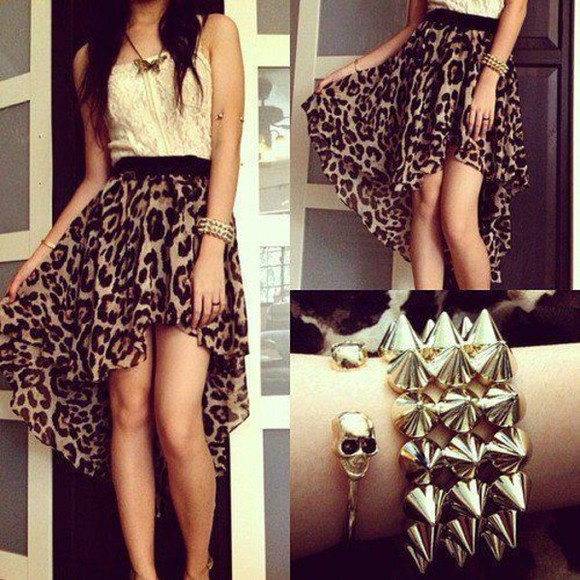 animal print dress dress bracelets shirt jewels skirt leopard print cream outfit party chain spikes hot leopard print white blouse butterfly necklace, colorful necklace coat jewels