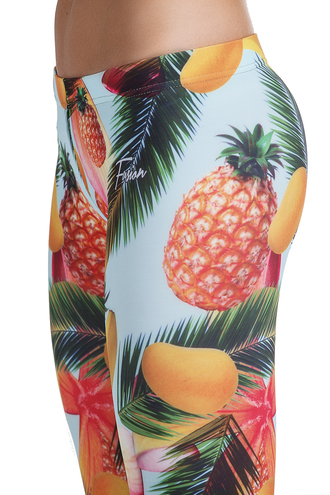 leggings jungle print leggings print jungle clothes girly pineapple mango palm tree print printed leggings