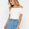 Sun-kissed shoulders rib knit top white blue - gojane.com