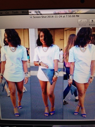 t-shirt style white dress clutch gold