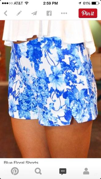 shorts blue shorts white shorts flowered shorts
