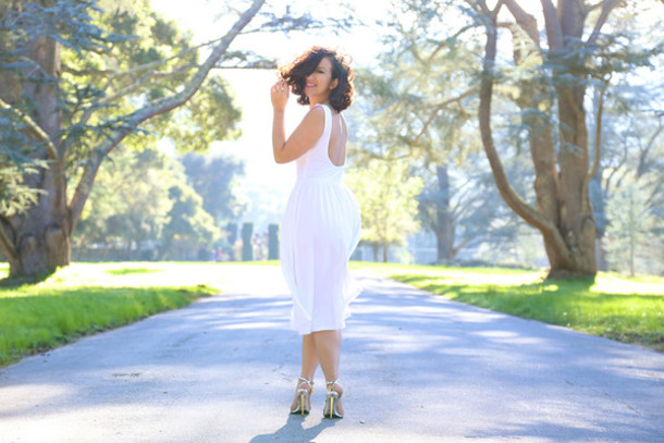 ktr style blogger backless dress white dress dress shoes