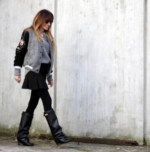 rebel attitude blogger black boots baseball jacket black skirt