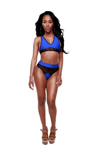swimwear summah breeeze bikini mesh mesh bikini blue yellow two-piece blue bikini
