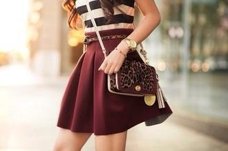 bag skirt shirt belt fall skirt skater skirt burgundy blouse lepoard print cute cute outfits this exact one ! pleated skater t-shirt watch fashion