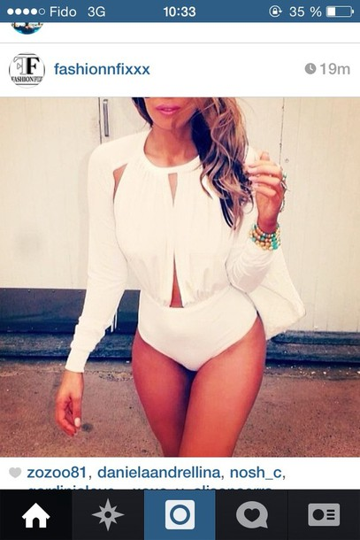blouse bodysuit white opened
