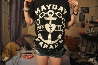 anchor t-shirt shirt band merch mayday parade band t-shirt