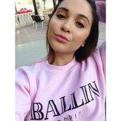 sweater,stella hudgens,alex and chloe,ballin,ballin paris,balmain,pink,sweatshirt,homies,sky ferreira