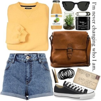 sweater bag shorts hipster school outfit yellow sweater shoulder bag brown bag high waisted shorts high waisted denim shorts