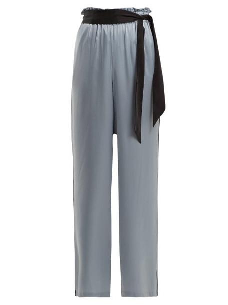 Asceno - Wide Leg Silk Pyjama Trousers - Womens - Blue