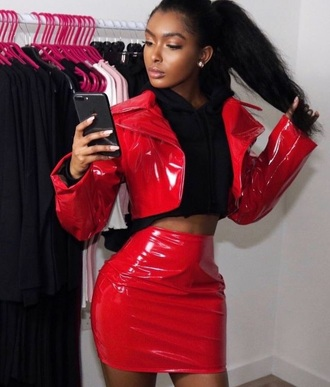 jacket red spandex sexy rock grunge skirt