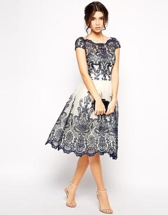 dress white and blue dress asos