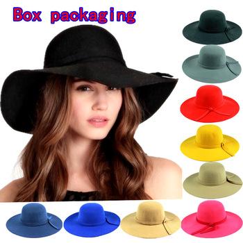24c0bbf8cb4b8 spring summer Brand Ladies Soft Wool Vintage Wide Brim Bowler Fedora Hat  Floppy Cloche Hats For Women wholesale-in ...