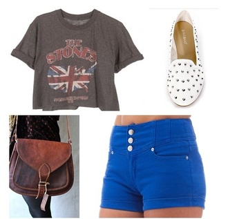 shorts high waisted shorts shirt shoes bag the rolling stones