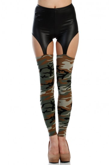 Camouflage army leather garter leggings