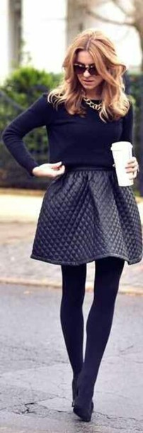 skirt black cute fashionista iconik fashion style outfit grey skirt hipster skirt quilted classy shirt black leather skirt leather skirt fall skirt winter skirt black quilted leather skater skirt autumn/winter