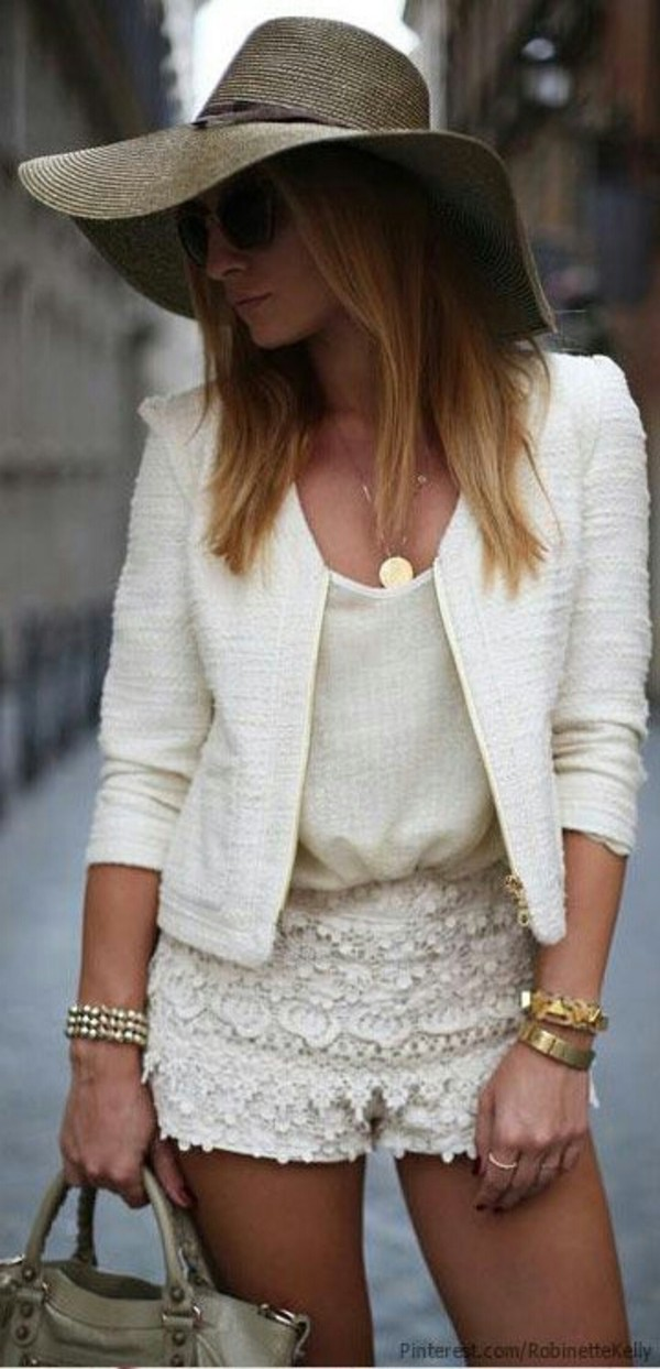 blouse summer shorts shirt necklace jacket white jacket chiffron top chiffron chiffon blouse white chiffon skirt white lace shorts white lace dress high waisted denim shorts l.a. style l.a. high heels lace bustier white top lace shorts style coat white