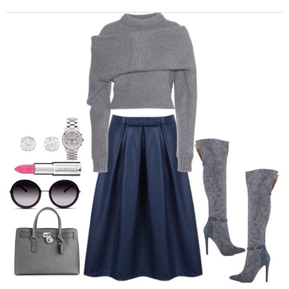 purse gray boots gray sweater
